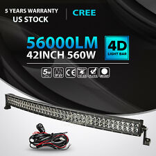 4D+ 42Inch 560W Curved LED Light Bar Flood Spot Offroad Jeep Truck Boat 4WD 44""