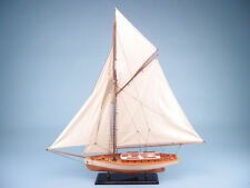 WOODEN TRADITIONAL MODEL SAILING YACHT BOAT 84CM L 88CM H NEW!