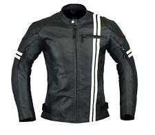 Men's New Motorcycle Armor Leather Jacket Black Biker Ascot 3020