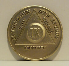 Alcoholic 9 Year Recovery 9 Yr Chip Medallion Coin Medal Token  AA Anonymous
