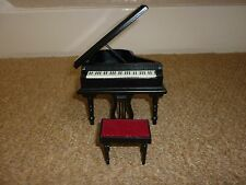 STREETS AHEAD DOLLS HOUSE BLACK GRAND PIANO WITH STOOL 12TH SCALE