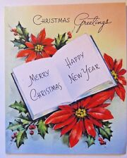 VINTAGE POINSETTIA 1940s SIGNED LITHO CHRISTMAS GREETING WISHING WELL CARD