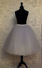 "Grey tulle net skirt 24"" long party wedding knee vintage pin up party 50s 60s"