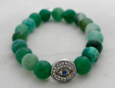 New Green Agate Mala Bead Stretch Bracelet with Crystal Studded Evil Eye