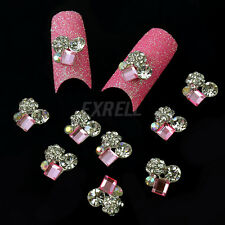 10 Stickers 3D Strass Rosa Accessori Nail Art Decorazione Unghie Cellulari ex1l