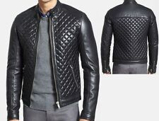 Arrow men quilted Real lambskin Black leather motorcycle jacket