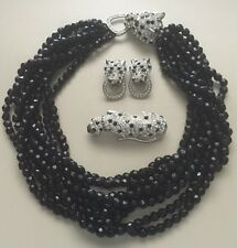 Kenneth Jay Lane Collection Leopard Necklace Earring Brooch Set Runway