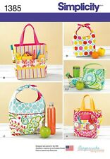 Simplicity Pattern 1385 Art Caddies, Lunch Bags and Snack Bag organizers totes