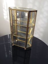 Vintage Brass Glass Table Top Wall Curio Cabinet Display Shelf Case Mirror Back
