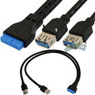 1.5Ft USB 3.0 Internal Motherboard Header 20pin to 2 USB 3.0 A Female Cable Cord