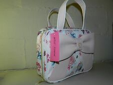 BETSEY PINK FLORAL BUTTERFLY ROSE BOW COSMETIC TRAVEL MAKE UP BAG PURSE CASE