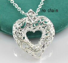 Fashion Winsome Silver Plated Hollow Out Carving Heart Necklace Pendant