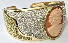 """AMEDEO NYC LUCCICA CAMEO CLEAR CRYSTAL CUFF GOLDTONE BRACELET FITS  7 """" WRIST"""