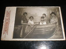 Cdv old photograph 5 people in a studio rowing boat c1890s