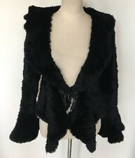 RIZAL BLACK KNIT RABBIT FUR JACKET BOLERO BELL SLEEVED COAT KNITTED SMALL Z747