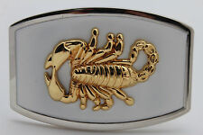 New Men Western Fashion Belt Buckle Silver Metal White Gold Scorpion Bling Texas
