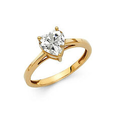 1 Ct Heart Shape Solitaire Engagement Wedding Promise Ring Solid 14K Yellow Gold