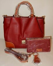 New Dooney & Bourke Pebble Leather Brenna Satchel with Accessories Wine