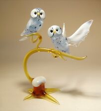"Blown Glass ""Murano"" Art Figurine Bird White Polar OWL Birds on a Branch"