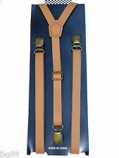 NEW Punk Skinny Light Brown Tan Vinyl  Leather  SUSPENDERS SUPER NARROW ""