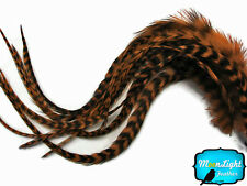 6 Pieces - Xl Brown Grizzly Thick Rooster Hair Extension Feathers