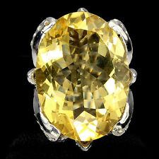 JUMBO CUT NATURAL OVAL 24x15mm RICH YELLOW CITRINE 925 SILVER RING Sz 6#