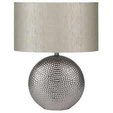 Sabina Silver Chrome Ceramic Table Lamp with Silver Taffeta Oval Shade