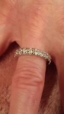 Sterling Silver Filled  White Topaz Eternity Band / Ring Size 10
