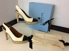 LANVIN cream Black Patent Leather Slingback Shoes Heels Size 38.5 Uk 5.5 £705