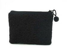 Seed Bead Black Purse with Beaded Tag, 12cm x 10cm ..... beaded bag