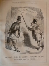 "7x10"" PUNCH cartoon 1856 IMPUDENT ATTEMPTS TO GAROTTE A GENTLEMAN OF THE PRESS"