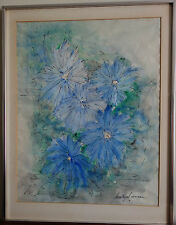 Dorothy Gannon (Am 20th C Listed) Blue Flowers Black Ink Watercolor Painting