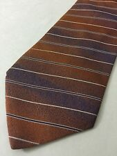 Etro Milano 100% Silk Tie Orange Blue Subtle Stripes Made in Italy