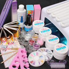 Pro 36W UV Dryer Lamp Glitter Powder French Nail Art Tips Gel Tools DIY Kit Set