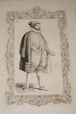 COSTUME ANCIEN DE NOBLE FRANCAIS CESARE VECELLIO 1860 GRAVURE PRINT R950
