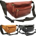 "Bum Bag Real Leather Black Brown Tan 3 Zipped Pockets 33""-46"" Waist Visconti New"
