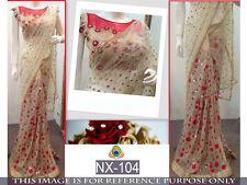 Bollywood Indian Party Wear Saree Sari Pakistani Beige Designer Wedding Saree