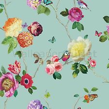Mariposa Bird Floral Rose-Arthouse Opera encantado Teal Multi Wallpaper 889800