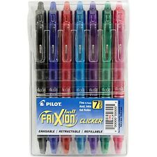 Pilot FriXion 7-Pack Fine Point Gel Pen Ball Clicker Erasable Ink Pens Color Set