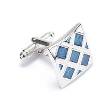 Men's Blue Lattice Cufflinks Stainless Steel men wedding Cuff Links