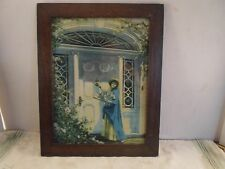 wood picture frame, lady at door, 10 by 13 1/4 inches, # 1034