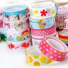 10Pcs 1.5cm*3 Meter Colorful Paper Sticky Adhesive Sticker Decorative Washi Tape