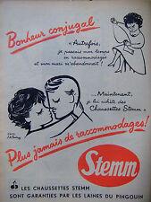 PUBLICITÉ DE PRESSE 1952 LES CHAUSSETTES STEMM EN LAINES PINGOUIN - ADVERTISING