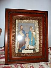 antique religious shadow box picture FRAME   HOLY FAMILY JESUS