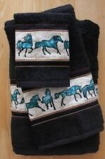 WESTERN/SOUTHWEST  DECOR 3 PC TOWEL SET,MIDNIGHT BLACK,UNBRIDLED TURQUOISE HORSE