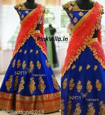 Designer Wear Royal Blue with Orange Lehenga Choli