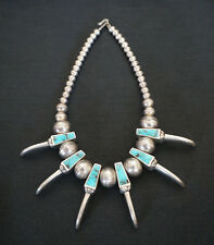 Incredible Navajo Sterling Silver Bear Claw Choker Necklace w/ Turquoise Stones