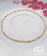 "Fine 9ct Yellow Gold Singapore Twist Curb Style Bracelet / Anklet 9"""