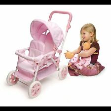 Doll Stroller Double Baby Twin Mommy Me Folding Carriage Deluxe Toy Girl NEW