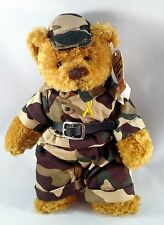 """SOLDIER Teddy BEAR Army Marine CAMO Fatigues Stuffed Plush """"OUR TROOPS"""" Military"""